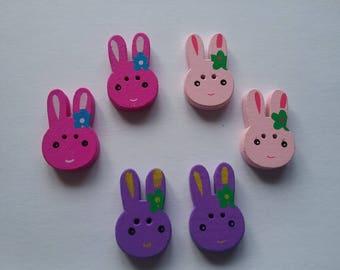 6 buttons wood head rabbit 25 x 15 mm n ° 214