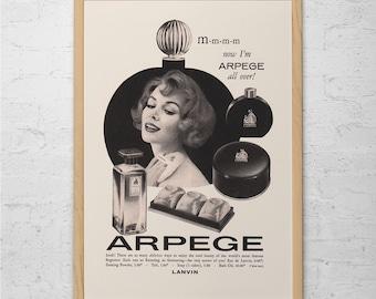 VINTAGE PERFUME AD - Retro Mid-Century Ad - Vintage Ladies Fashion Ad, Mid Century Fashion Poster, Classic Fashion Design, Fashion Photo