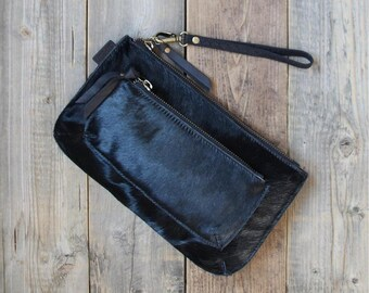 Black cow hair leather clutch  purse evening bag small bag cow hair clutch two zipper clutch stylish wallet
