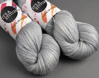 British Wool & Silk blend lace weight hand-dyed knitting yarn 100g 'Silver' 100g light grey gray BFL Bluefaced Leicester laceweight