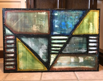 """Untitled 24x36"""" abstract - acrylic"""
