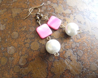 Love Tomorrow Mother of Pearl and Pearl Antique Brass Dangle earrings