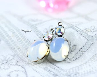 Vintage Swarovski Oval and Chaton Stones Antique Silver Settings 19x10mm AB Crystal & White Opal Earring Dangle - 2