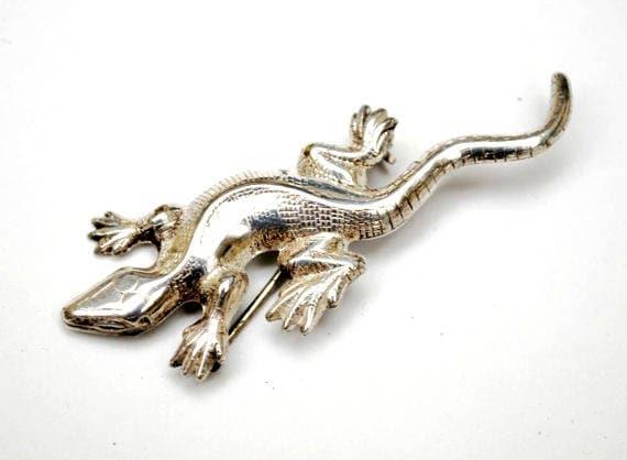 Sterling Lizard Brooch - Designer signed Lang  - Silver Gecko - Figurine Pin