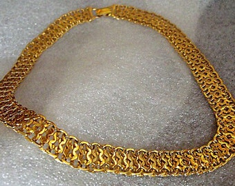 Monet Necklace - Gold Tone Wide Mesh Chain Choker - Collar Choker Necklace