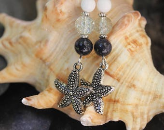 Mermaid earrings starfish nautical jewelry mermaid gift beach party traveler gift summer vocation inspiration earrings starfish earrings