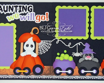 2 Premade Halloween Scrapbook Pages Haunted Train Ghost Baby Boy Girl 12x12 Layout Paper Piecing Handmade 77