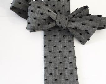 Cravate à pois, denim, indigo, coton, mariage, garçons d'honneur, cravate chambray, personnalisé cravate, cravate homme, cravate auto, chambray, denim, cravate
