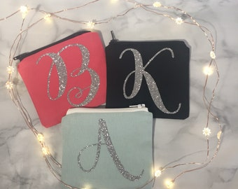 Personalised coin purse, pouch, intials , glitter