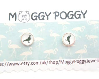 Sterling silver small 8mm black and white cute pigeon bird stud earrings