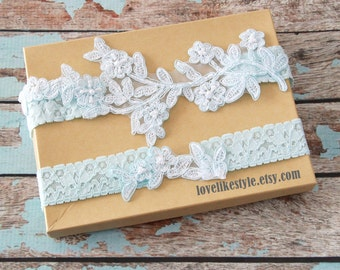 Light Blue Pearl Beaded Lace Wedding Garter Set ,Blue  Lace Garter Set, Toss Garter , Something Blue, Blue Wedding Garter / GT-46LB