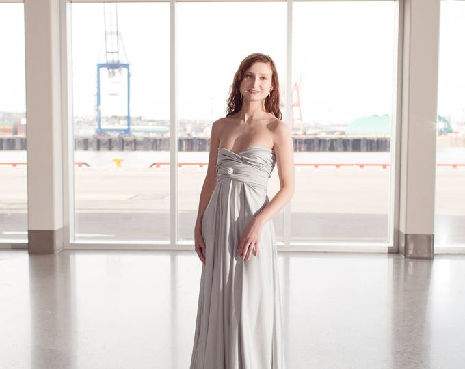 Silver Long Convertible Dress / Custom size, length / Maternity & plus size included