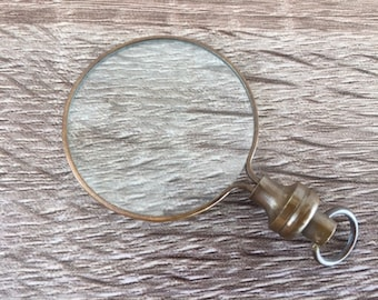 Antique Finish Brass Magnifying Glass - Round Magnifier - Necklace Pendant Charm - Old Vintage Style - Nautical Jewelry Gift