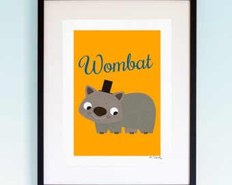 Wombat, Wildlife, Poster, Wall Art, Childrens, Nursery Print, Boys and Girls Room Decor, Animal, Playroom, Native, Fauna, Australia.