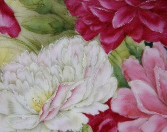 Antique Hand Painted Platter Tirschenreuth signed Bauum Pink Roses