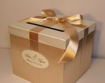 Wedding Card Box Champagne and Ivory Gift Card Box Money Box Holder--Customize your color/made to order (10x10x9)
