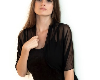 Black Sheer Loop Shawl. Versatile Infinity Shawl- Shrug, Shawl, Crisscross And Scarf. Versatile Infinity Cover Up, Elegant Clothing CF101