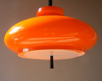 1970s Funky  French Vintage Glass Ceiling Light with a  ROLLY  rise and fall system.