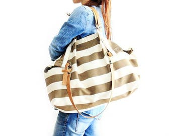 Weekend BAG, canvas and leather bag, striped brown / weekender personalized with name.