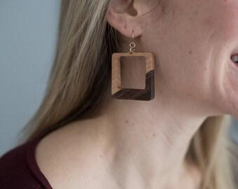 Square Handmade Wood Earrings, Maple and Walnut