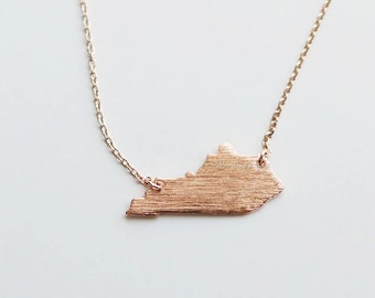 rose gold Kentucky State Necklace , KY state gold necklace