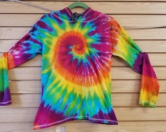 Ladies Large - Rainbow Spiral Tie Dyed T-Shirt Hoodie - Aura Tie Dye