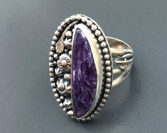 Charoite Ring, Purple Stone Size 9 1/4 Flower Garden Silversmith Statement Ring Unique Wide Band Large Boho Chic Floral Sterling Silver
