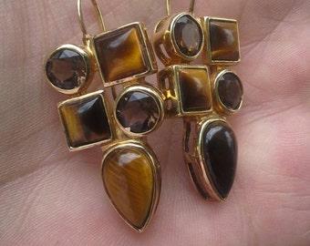 Beautiful Large Seta Sterling Gold Genuine Tigers Eye and Smoky Topaz Drop Earrings