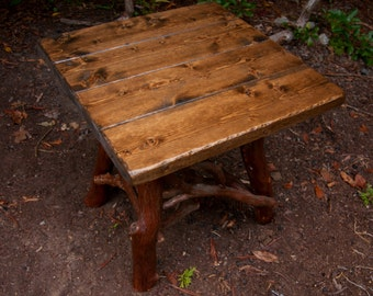 Rustic Handmade End Table Log Cabin Adirondack Art Furniture by J. Wade,brown stained pine side table