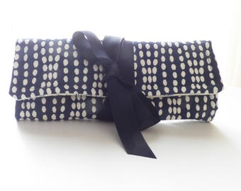 Travel Jewelry Roll Navy Blue Dot Bridesmaid Gift Travel Accessory