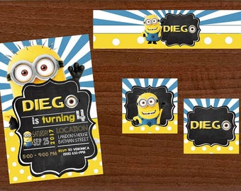 18 minions invitation also  tags label party birthday english or spanish