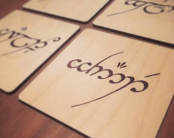 Name in Elvish - Wood Burnt Coaster