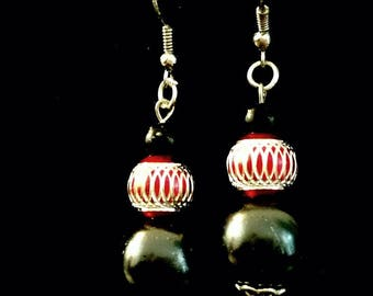 Ebony and Red earrings