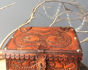 VINTAGE BOX...natural tooled leather box/vanity set/make up/jewelry display/wood craft carving/handmade/rustic Asian snake bohemian fashion