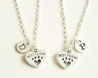 Best friend Necklace Set, Best Friends Forever Necklace, Friendship Necklace set, Best Friends gift,dog paws Necklace, bff necklace set