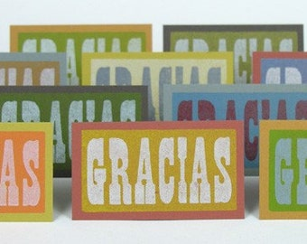 YOU PICK, 40 mini cards choose from Thank You Gracias cards Sweetheart gift tags I Love You Merci Besos cards Valentines Tiny cards