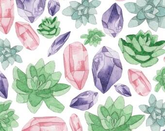 """Succulove Watercolor Gemstone Succulent 8""""x10"""" Fine Art Print"""