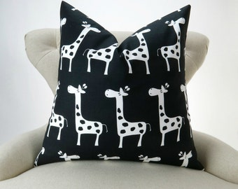 Black Giraffe Pillow Cover -MANY SIZES- Stretch Zoo Premier Prints - cushion throw couch euro sham decorative nursery kids bedding