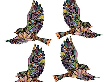 ON SALE Flying Birds Wall Decals Stickers for Walls and Windows - Set of 4 (SKU187-17)