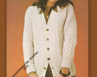 Crochet Aran Cardigan Pattern - Best Seller - Women Crochet - Bust 38 & 42 - PDF 19712