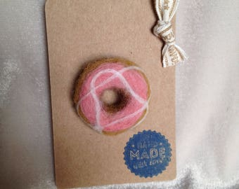 Needle felted Pink Donut Brooch. Great Christmas gift.