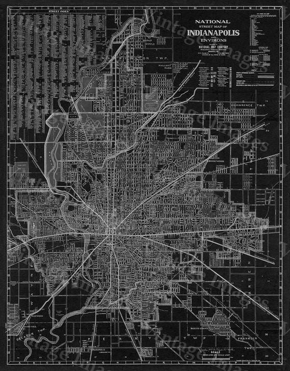 Old Indianapolis Map 1921 map of indianapolis Antique Restoration Style Black Indianapolis art Street Map Fine Print Indy Wall art Decor