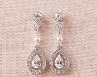 Swarovski Bridal Earrings, Pearl and Crystal wedding earrings Rhinestone  Bridesmaids Dainty Misty Bridal Earrings
