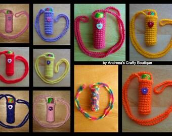 Crochet Acrylic Chapstick Lip balm Necklace Holder, Various colours available, Reusable Lip Balm Holder, Women/Girls Accessories