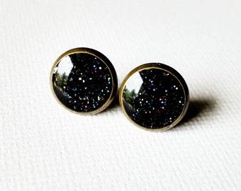 Black Earrings - Black Studs -Galaxy Earrings - Shinny Earrings