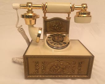 Vintage French Victorian Rotary Telephone Gold / Ivory Deco-Tel by Western Electric