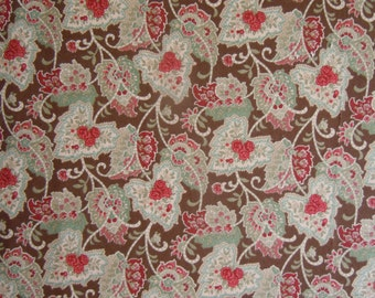 22 X 18 Green Brown Brick Red and Tan Leaf and Floral Print Fat Quarter Cotton Fabric