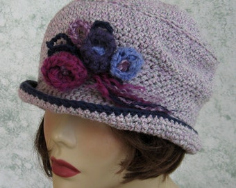 Womens Crochet Hat With Delicate Floral Trim Liliac Heather Pretty Chemo Hair Loss Hat Brimmed Summer Hat Fits Head Sizes 21- 23 Inch