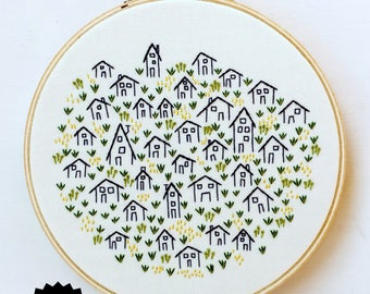 IT TAKES A VILLAGE - pdf embroidery pattern, embroidery hoop art, village, little tiny houses, stitched houses, home sweet home, housewarm