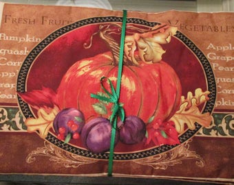 Fall pumpkin reversible place mats  (set of 4)each is a a different picture